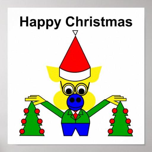 Felices Navidad - cerdo del navidad Posters
