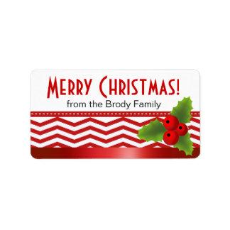 Felices Navidad Chevron Etiqueta De Dirección