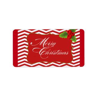 Felices Navidad Chevron Etiquetas De Dirección