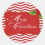 Felices Navidad Chevron Etiquetas Redondas