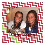 Felices Navidad Chevron Invitación 13,3 Cm X 13,3cm
