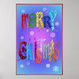 Felices Navidad coloridas Poster-grandes Póster