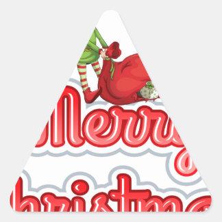 Felices Navidad con el duende Pegatina Triangular
