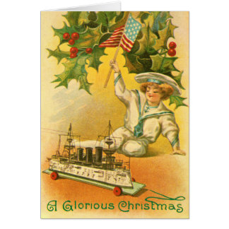Felices Navidad con el marinero de la bandera de Tarjeta De Felicitación