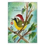 ¡Felices Navidad con el pájaro del Yellowthroat! Felicitaciones