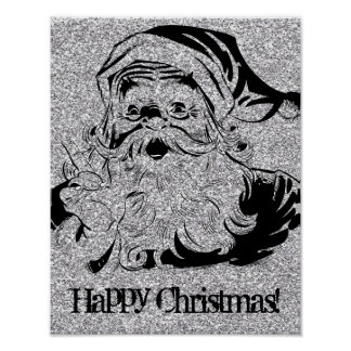Felices Navidad con el vintage Santa Poster