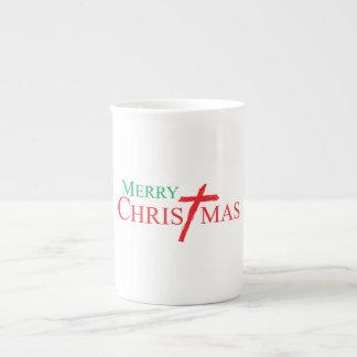 Felices Navidad con la cruz de las tarjetas del Taza De Porcelana