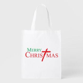 Felices Navidad con la cruz de los botones del Bolsas Para La Compra