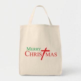 Felices Navidad con la cruz de los botones del Bolsa Tela Para La Compra