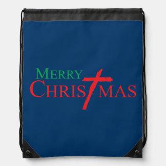 Felices Navidad con la cruz de los botones del Mochila