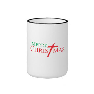 Felices Navidad con la cruz de los botones del Taza A Dos Colores