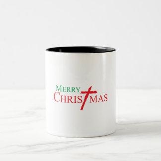 Felices Navidad con la cruz de los botones del Taza Dos Tonos