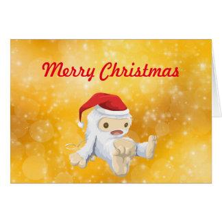 Felices Navidad con la muñeca de Yeti en el gorra Tarjeta De Felicitación