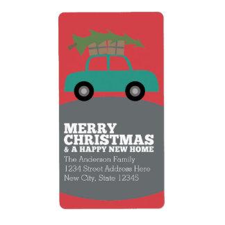 Felices Navidad con la nueva mudanza de la Etiqueta De Envío