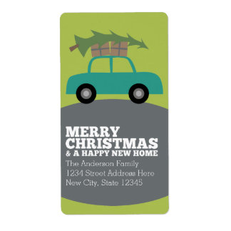 Felices Navidad con la nueva mudanza de la Etiquetas De Envío