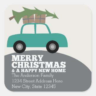 Felices Navidad con la nueva mudanza de la Pegatina Cuadrada