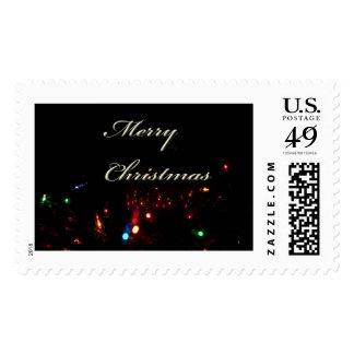 Felices Navidad con las luces de navidad Sello Postal
