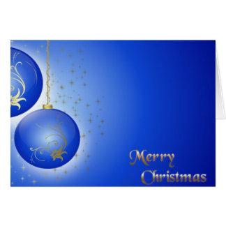 Felices Navidad con los ornamentos azules Tarjeta De Felicitación