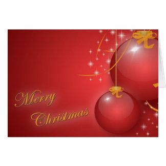 Felices Navidad con los ornamentos rojos Tarjeta De Felicitación