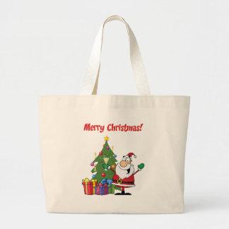 Felices Navidad con Papá Noel Bolsa Tela Grande
