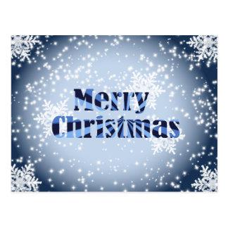 Felices Navidad con postacrd del azul de los copos Postal
