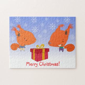 Felices Navidad con rompecabezas de las ardillas