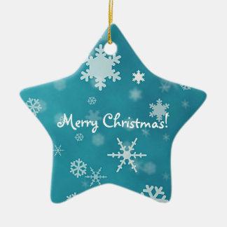 Felices Navidad con turquesa de los copos de nieve Ornamento Para Reyes Magos