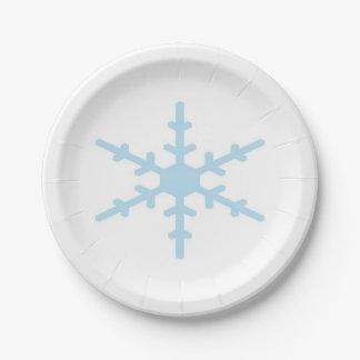 Felices Navidad - copo de nieve azul del invierno Plato De Papel De 7 Pulgadas