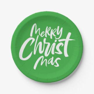 Felices Navidad cristianos que ponen letras a Gree Platos De Papel