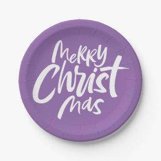 Felices Navidad cristianos que ponen letras a Purp Platos De Papel