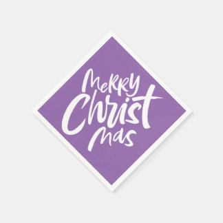 Felices Navidad cristianos que ponen letras a Purp Servilleta De Papel