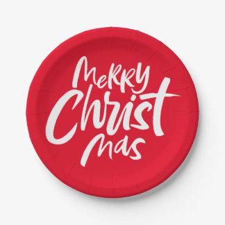 Felices Navidad cristianos que ponen letras a rojo Platos De Papel