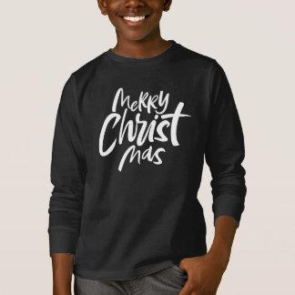 Felices Navidad cristianos que ponen letras a rojo Playera