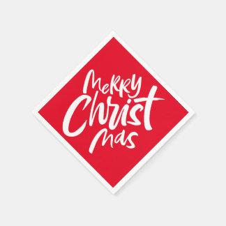 Felices Navidad cristianos que ponen letras a rojo Servilletas Desechables