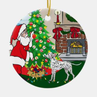 Felices Navidad dálmatas Adorno Redondo De Cerámica