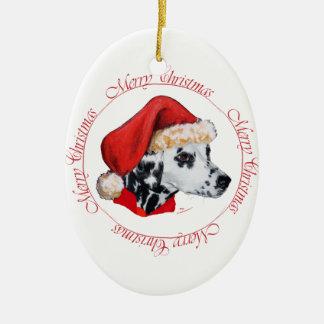 Felices Navidad dálmatas Adorno Ovalado De Cerámica