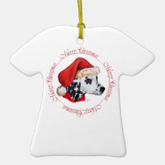 Felices Navidad dálmatas Adorno De Cerámica En Forma De Camiseta