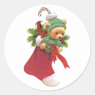 Felices Navidad de Beary Pegatina Redonda