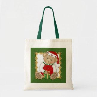 Felices Navidad de Beary - peluche del muchacho Bolsa Tela Barata