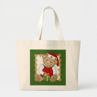 Felices Navidad de Beary - peluche del muchacho Bolsa Tela Grande