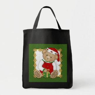 Felices Navidad de Beary - peluche del muchacho Bolsa Tela Para La Compra
