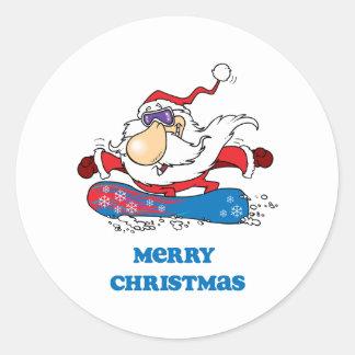Felices Navidad de BoardChick Santa Pegatina Redonda