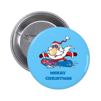 Felices Navidad de BoardChick Santa Pin Redondo De 2 Pulgadas