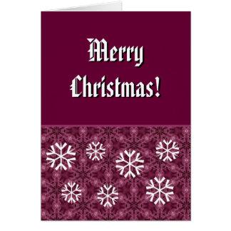 Felices Navidad de Burdeos y de los copos de nieve Tarjeta Pequeña