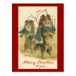¡Felices Navidad de Collie* del *Mini del vintage! Tarjeta Postal