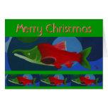 Felices Navidad de color salmón Tarjeta De Felicitación
