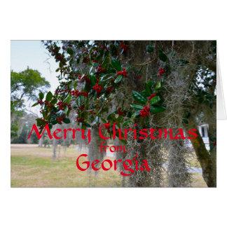 Felices Navidad de Georgia (texto rojo) Tarjeta De Felicitación