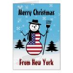 Felices Navidad de la bandera de los E.E.U.U. del  Tarjeton