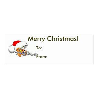 Felices Navidad de la etiqueta del ratón de Santa Tarjetas De Visita Mini