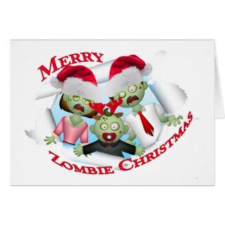 Felices Navidad de la familia del zombi Tarjeta De Felicitación
